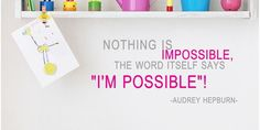 Nothing is impossible quotes DIY Modern Wall Art Vinyl Decals Stickers for home kitchen office decor encouraging words dd-2
