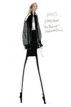 Fashion illustration - fashion design sketch for DKNY Fall 2013