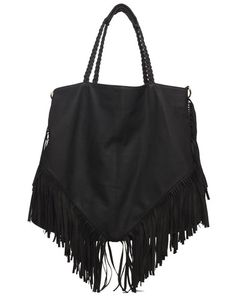 Lou Fringe Tote Bag - Black - was $175 – Cri de Coeur