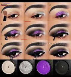 20 fashionable smoky purple eye makeup tutorials for all occasions styles weekly halloween makeup? The most beautiful make-up Gothic Eye Makeup, Purple Eye Makeup, Purple Eyeshadow, Eyeshadow Makeup, Easy Eyeshadow, Foil Eyeshadow, Maybelline Eyeshadow, Eyeshadow Tutorials, Smokey Eyeshadow