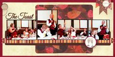 The Toast - 2 page wedding scrapbook layout - 4 photos - autumn Fall colors