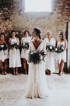 Bohemian wedding ideas: relaxed neutral bouquets, boho wedding dress with neutral bridesmaid dresses. Trendy Wedding, Perfect Wedding, Dream Wedding, Wedding Day, Wedding Reception, Rustic Wedding, Wedding Trends, Budget Wedding, Boho Wedding Shoes