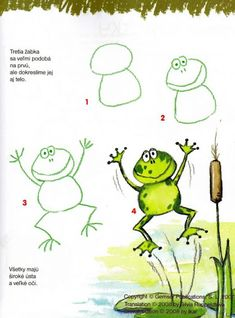 How to draw & color a silly frog, step-by-step. (Right-click on image to print.) (art, kids, drawing lesson)