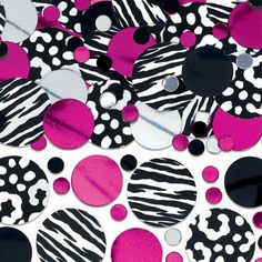 Instantly add black and pink panache to your next party! The Zebra Party confetti pack features circular confetti with a mix of prints including zebra, polka dots, and solids in black, hot pink, and silver. This mega pack includes designer confetti to us Zebra Print Party, Pink Zebra Party, Animal Print Party, Cheetah Party, Animal Prints, Thing 1, Minnie Mouse Party, Mickey Mouse, Party Stores