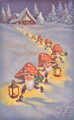 Antique vintage Dutch New Year's postcard gnomes with mushroom hats