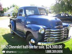 1952 Chevrolet half-ton for sale. $24,500.00 / 1.888.309.0616