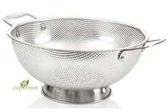 Buy LiveFresh Stainless Steel Micro-perforated Colander - Professional Strainer with Heavy Duty Handles and Self-draining Solid Ring Base - Dishwasher Safe Cooking Twine, Cooking Utensils, Kitchen Utensils, New Kitchen, Kitchen Dining, Summer Kitchen, Decorative Bowls, Dishwasher, Desert Recipes