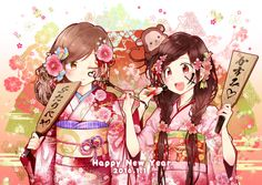 142 best Happy New Year Anime images on Pinterest   New year anime     Happy New Year by Aoi Yukiko