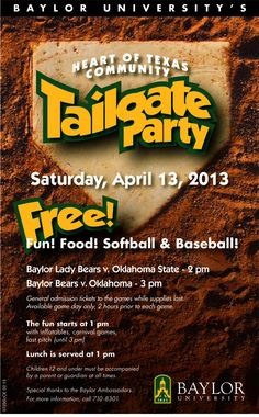 Come on out -- free #Baylor baseball and softball, plus a free tailgate party!
