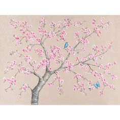 Oopsy daisy 'Cherry Blossoms and Butterflies' 40 x 30-inch Stretched Canvas Wall Art