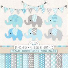 Elefante azul Clip Art para infantiles, Baby Shower. Bebé niño papel Digital, Banners en azul, gris, menta. Pastel Chevron, patrones de punto de polca