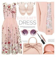 """""""Dreamy Dresses"""" by chocolate-addicted-angel ❤ liked on Polyvore featuring Mansur Gavriel, tarte, Miu Miu, A.J. Morgan, Burberry, Spring, florals, 2017 and dreamydress"""
