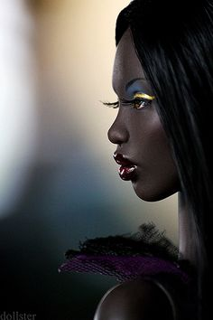 Fashion Dolls - very dark skin and beautiful make-up on this Barbie