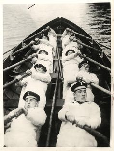 1936- Young conscripts in the German navy shown pulling an oar in rowing training at the Gorch Fock Sport School for Navy Hitler Youth.