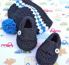 Crocheted Baby Shoes and Beanie Hat Gift Set - 0/3 Months Size. $38.00, via Etsy.