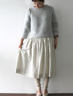irish hand-knit sweater. Sweet skirt too.