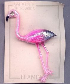 Vintage 1950s Celluloid PINK FLAMINGO Pin on Card by GreatOldStuff, $9.00