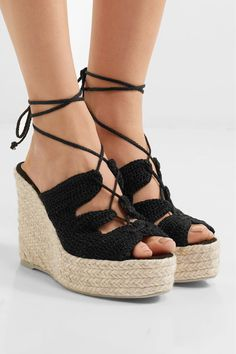 Wedge heel measures approximately 115mm/ 4.5 inches with a 35mm/ 1.5 inches platform Black crochet Ties at ankle