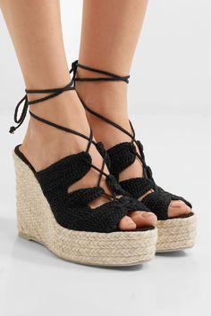 Manebi | Rio de Janeiro crocheted espadrille wedge sandals | NET-A-PORTER.COM