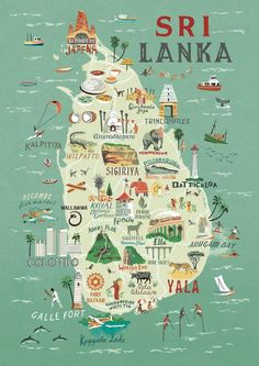 Travel infographic Map of Sri Lanka Anna Simmons Travel Maps, Asia Travel, Travel Posters, Places To Travel, Vacation Travel, Sri Lankan Chicken Curry, North Shore Oahu, Les Continents, Destination Voyage