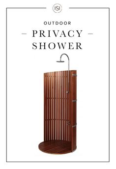 Experience the ultimate outdoor shower with the Lauan Privacy Shower. Featuring a sturdy curved lauan wood panel and rainfall shower head this outdoor shower makes an elegant addition to pool areas gardens and backyards.