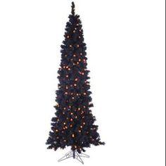 6.5' Pre-Lit Black Flocked Artificial Halloween Tree - Orange G25 LED Lights great for my livingroom lol MOM!!!!!!!!!!!!!