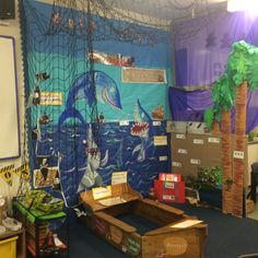 EYFS Role Play Area Idea. We are currently learning about Pirates & Under the Sea Creatures. This role play area is very interactive and offers lots of collaborative and independent learning!