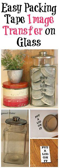 Packing Tape Image Transfer on a Thrift Shop Jar Jar Lid Crafts, Diy Crafts, Glass Transfer, Diy Artwork, Diy Projects, Project Ideas, Craft Ideas, Glass Blocks, Jar Lids