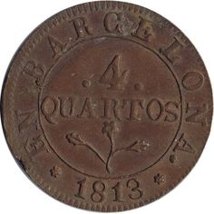 4 Quartos 1813 Napoleon Barcelona. Cobre.