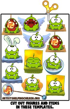 cute cut the rope monster - make an embroidery square of him waving