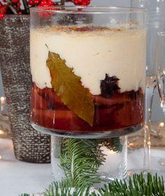 Μια σπέσιαλ εκδοχή πάνω στο αγγλικό γλυκό τράιφλ. Γίνεται με κυδώνια που έχουμε κάνει κομπόστα και κρέμα. Christmas Dishes, Christmas Recipes, Custard, Sweet Recipes, Mousse, Panna Cotta, Deserts, Food And Drink, Sweets