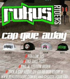 Instagram #skateboarding photo by @rukusriders - are giving a cap away to one of our followers. Follow the steps above to enter. Give away starts 8.15pm AEST 10/05/16 & ends 8.15pm 17/05/16 AEST Winner announced 8.30pm AEST 17/05/16 Free shipping worldwide Private accounts must be set to public Contest is not affiliated or endorsed by Instagram #competition #giveaway #instafollow #free #fresh #snapback #caps #marketing #branding #social #clothinggiveaway #clothing #apparel #skateboarding…