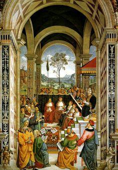 Pinturicchio (Bernardino di Betto Betti detto) - Pio II convoca a Mantova una dieta dei principi cristiani per la crociata contro i Turchi  - affresco - 1502-1507 - Siena, Duomo, Libreria Piccolomini