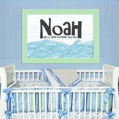 Baby Name Poster - Waves
