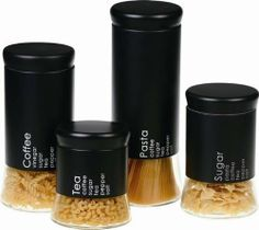 Longden Enterprises GBS3021 Flairs 4 Piece Black Canister Set - Case of 2 by Longden Enterprises. $134.72. Imprinted matte black sleeved tops.. Can be used with a variety of products.. Airtight screw on lids.. Sleek shaped glass with flared base for stability.. Includes 4 sizes, from 5-1/2 to 11-1/2 high.. It takes equal parts of creativity and science to prepare a meal for family and friends. Start with a recipe, experiment with flavors and textures, and as yo...