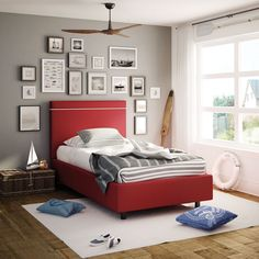 AMISCO - Breeze Kid Bed (12504-39c) - Furniture - Bedroom - Urban collection - Contemporary - Upholstered kid bed