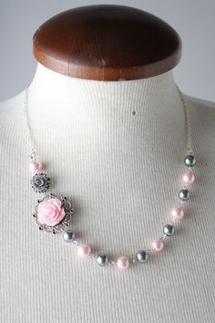 vintage style rose necklace  shabby chic  by BijouxKarmaJewelry, $28.00
