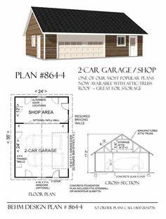 2 Car Garage With Shop Plans - 864-4 By Behm Design