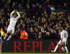 Cristiano Ronaldo celebrating his goal at Camp Nou (2015-2016 2nd leg Classico)