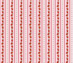 Strawberry Stripes Pink fabric by ninniku on Spoonflower - custom fabric