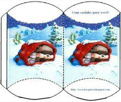 Cajita almohada navideña. Kids Boxing, Little Boxes, Wraps, Box Templates, Gift Wrapping, Printables, Christmas Ornaments, Holiday Decor, Gifts