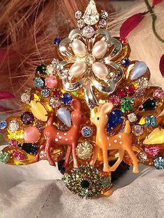 Vintage Rhinestone Christmas Tree Pin Kissing REINDEER Colorful Signed LaHeir