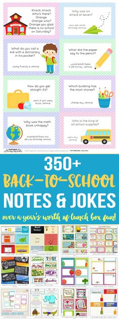 Over 350 printable back to school lunch box notes and jokes guaranteed to make your kids laugh and smile at lunchtime all year long!