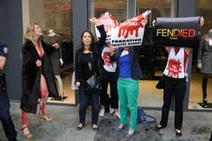 Peta's activist trying to disturb Fendi's Fall-Winter 2015/2016 Haute Couture collection show held at Theatre des Champs Elysees in Paris, France on July 8, 2015. (Photo by Alban Wyters/ABACAPRESS.COMAnti-fur protesters disrupt Paris Fashion Week)