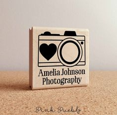 Personalized Photography Camera Rubber Stamp with Name