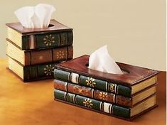 Book Tissue Box ...perfectly nerdy & functional. DIY with cool vintage books. Attach books to each other in a stack, cut hole to fit a plain tissue holder, cut slit in cover if top book for tissues to come out of, glue tissue box inside the books.