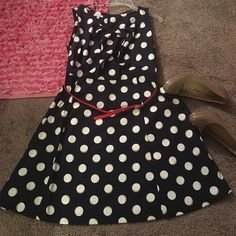 FABULOUS BLUE/NAVY/TAN/WHITE DRESS Nice dress to wear to church, weddings, work or Easter. The dress is sleeveless but you could always pair it with a red cardigan that I will post in my closet soon or wear it by itself. it pairs nicely with nude pumps or red scandals. Dress Barn Dresses