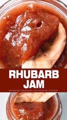 Rhubarb Jam Recipe - French Rhubarb preserve recipe prepared with fresh stalks, all natural without Easy Rhubarb Recipes, Rhubarb Desserts, Rhubarb Jam Recipes Canning, Rhubarb Ideas, Rhubarb Muffins, Jelly Recipes, Fruit Recipes, Ruhbarb Recipes, Cookbook Recipes