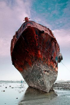 Aged with beauty rustic abandoned old ship