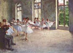 """Edgar Degas, Prova di balletto, 1874-1877, olio su tela, 54,8 cm × 83,8 cm, Burrell Collection, Glasgow  attimi di sforzo, tensione, noia, pausa, riposo che costituiscono la realtà dei """"rats"""" , le ragazze del balletto."""